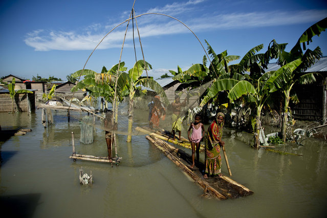 A flood affected family moves on a banana raft past a fishing net in Morigaon district, east of Gauhati, northeastern Assam state, India, Sunday, July 31, 2016. A week of heavy rain has killed dozens of people and uprooted tens of thousands of others from their homes. Floods are an annual occurrence in Assam and many parts of India during the June-September monsoon season. (Photo by Anupam Nath/AP Photo)