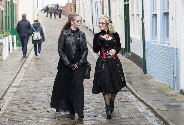 """Hannah Benn (left) and Maja Szyszka attend the Whitby Goth Weekend in Whitby, Yorkshire, where Bram Stoker found some of his inspiration for """"Dracula"""" after staying in the town in 1890 in Whitby, United Kingdom on October 29, 2017. (Photo by Danny Lawson/PA Images via Getty Images)"""