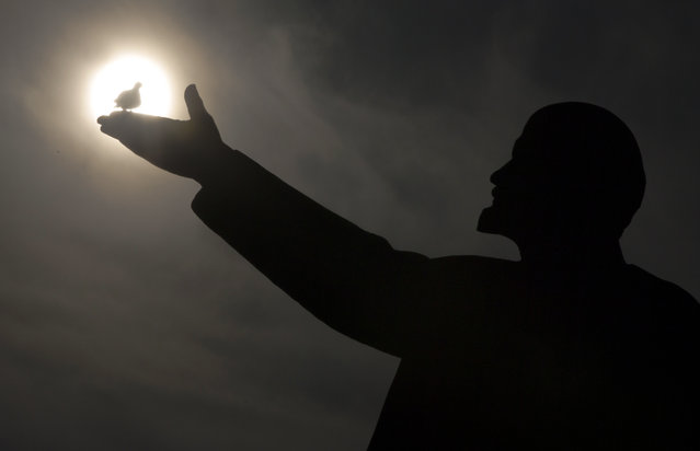 In this Tuesday, October 31, 2017 file photo, a bird silhouetted by the sun sits on the hand of a statue of Soviet Union founder Vladimir Lenin in Russian leased Baikonur cosmodrome, Kazakhstan. (Photo by Dmitri Lovetsky/AP Photo)