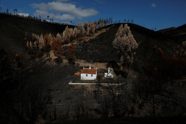 A shrine is seen after a forest fire near the village of Serta, Portugal, September 9, 2017. (Photo by Rafael Marchante/Reuters)