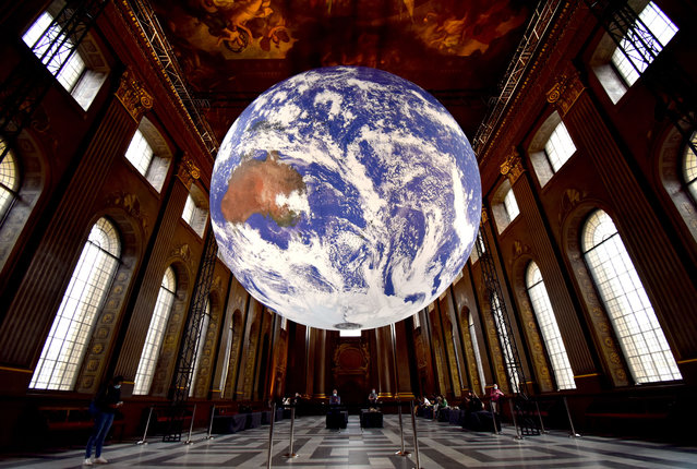 The art installation Gaia in the Painted Hall of the Old Royal Naval College in Greenwich, London, UK on September 3, 2020. (Photo by Fraser Gray/Rex Features/Shutterstock)