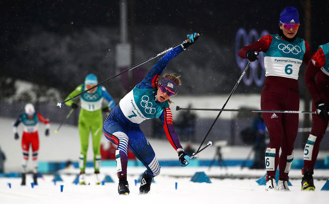 Jessica Diggins, of the United States, reacts after finishing second in the first semifinal of the women' s cross- country skiing sprint classic at the 2018 Winter Olympics in Pyeongchang, South Korea, Tuesday, February 13, 2018. (Photo by Carlos Barria/Reuters)