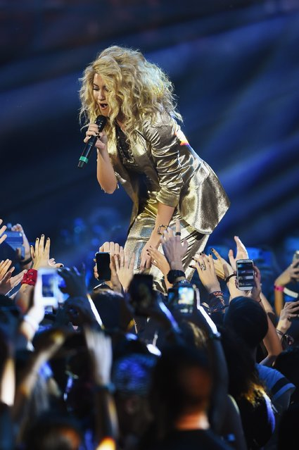 Tori Kelly on stage during the MTV EMA's 2015 at the Mediolanum Forum on October 25, 2015 in Milan, Italy. (Photo by Brian Rasic/Getty Images for MTV)