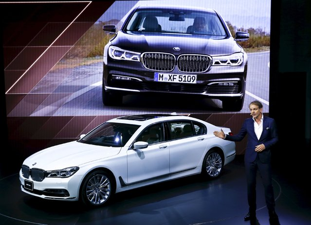 Senior Vice President of the BMW Group Design Adrian van Hooydonk presents the new BMW 740Li at the 44th Tokyo Motor Show in Tokyo, Japan, October 28, 2015. (Photo by Thomas Peter/Reuters)