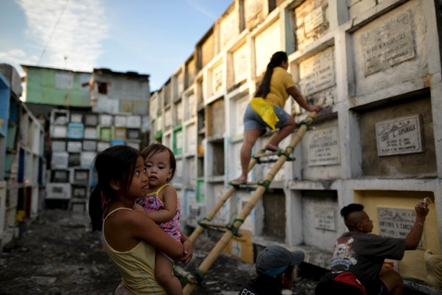 Cemetery workers repaint tombs inside the municipal cemetery in Navotas city, north of Manila October 29, 2015. (Photo by Ezra Acayan/Reuters)