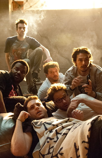 "June 12: ""This Is the End"" Seth Rogen, James Franco, Jonah Hill, Craig Robinson and others find themselves facing the apocalypse. Clockwise from top left, Jay Baruchel, Danny McBride, James Franco, Seth Rogen, Jonah Hill and Craig Robison star in Columbia Pictures' ""This Is The End"". (Photo by Columbia Pictures)"