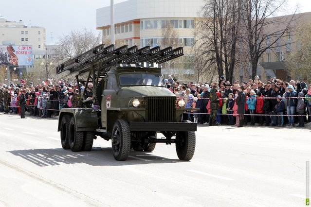 Military equipment of the Second World War took part in the traditional Victory Parade in Verkhnyaya Pyshma near Yekaterinburg, Russia May 9, 2013. (Photo by Kirill Zajcev)