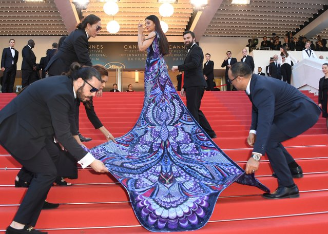 "Actress Aishwarya Rai Bachchan poses for photographers upon arrival at the premiere of the film ""Girls of The Sun"" at the 71st international film festival, Cannes, southern France, Saturday, May 12, 2018. (Photo by Arthur Mola/Invision/AP Photo)"