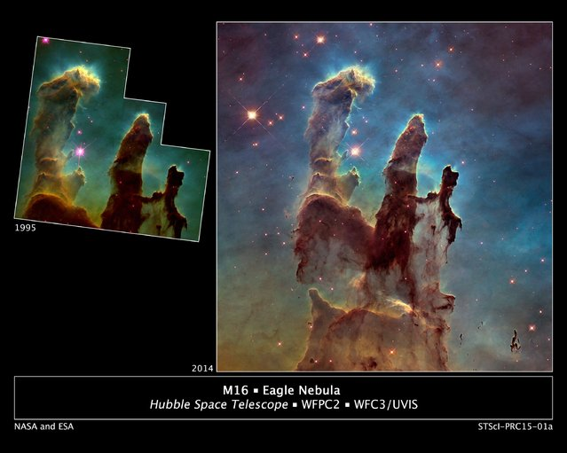"""A bigger and sharper Hubble telescope photograph of the iconic Eagle Nebula's """"Pillars of Creation"""" (R) is seen next to the original 1995 Hubble picture in this NASA image released January 6, 2015. By comparing the 1995 and 2014 pictures, astronomers also noticed a lengthening of a narrow jet-like feature that may have been ejected from a newly forming star. (Photo by Reuters/NASA/ESA/Hubble Heritage Team)"""
