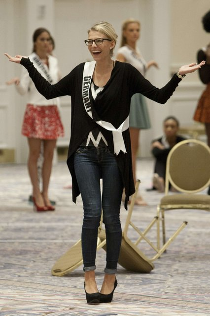 Miss Germany 2014 Josefin Donat gestures during rehearsals for the 63rd annual Miss Universe Pageant in Miami, Florida in this January 16, 2015 handout photo. (Photo by Reuters/Miss Universe Organization)