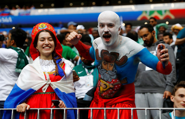 Russia fan with body paint before the Russia 2018 World Cup Group A football match between Russia and Saudi Arabia at the Luzhniki Stadium in Moscow on June 14, 2018. (Photo by Kai Pfaffenbach/Reuters)