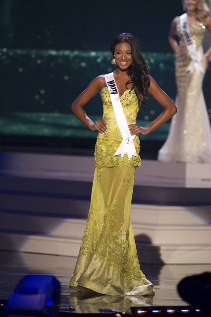 Christie Desir, Miss Haiti 2014 competes on stage in her evening gown during the Miss Universe Preliminary Show in Miami, Florida in this January 21, 2015 handout photo. (Photo by Reuters/Miss Universe Organization)