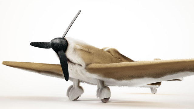 Spitfire camoflaged as a Beagle. The intricate 3D drawings re-imagine key aspects from each plane into recognizable dog features. (BNPS)