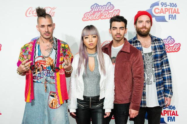 (L-R) Cole Whitte, JinJoo Lee, Joe Jonas and Jack Lawless from DNCE attend Capital's Jingle Bell Ball with Coca-Cola on December 4, 2016 in London, United Kingdom. (Photo by Jeff Spicer/Getty Images )