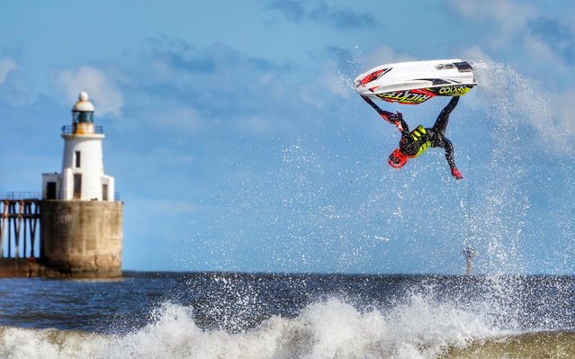 Ant Burgess practices his freestyle on a jet ski at Blyth beach in Northumberland, on the North East coast. Picture date: Saturday April 10, 2021. (Photo by Owen Humphreys/PA Images via Getty Images)