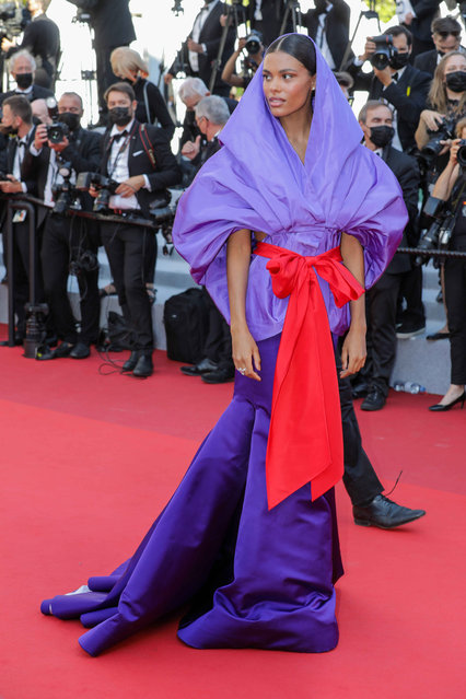 """French model  Tina Kunakey Cassel attends the """"Benedetta"""" screening during the 74th annual Cannes Film Festival on July 09, 2021 in Cannes, France. (Photo by Stephane Cardinale – Corbis/Corbis via Getty Images)"""