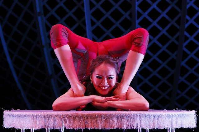 Odka performs in during a media preview of Zippos Cirque Berserk at the Peacock Theatre in London, Britain February 8, 2016. (Photo by Stefan Wermuth/Reuters)