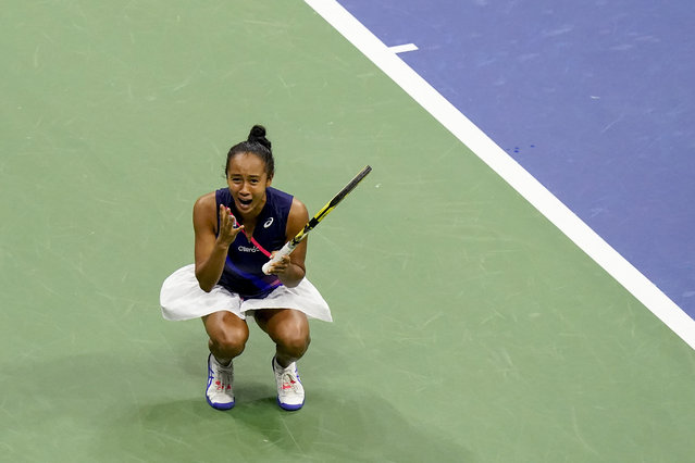 Leylah Fernandez, of Canada, reacts after defeating Aryna Sabalenka,of Belarus, during the semifinals of the US Open tennis championships, Thursday, September 9, 2021, in New York. (Photo by Frank Franklin II/AP Photo)