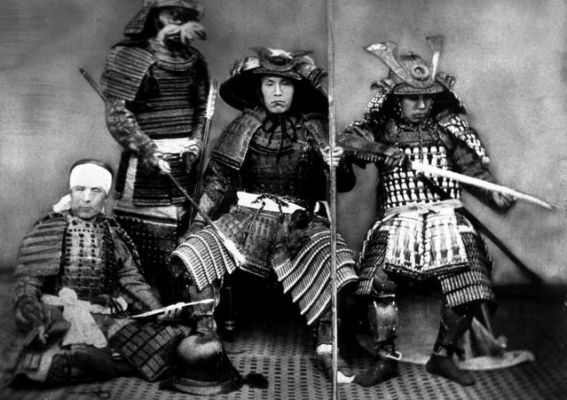 People, Old Japan, pic: circa 1900, Four Samurai warriors in their traditional costumes (Photo by Popperfoto/Getty Images)