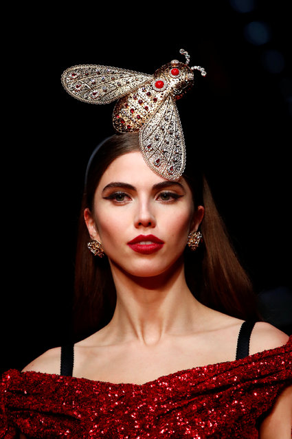 A model presents a creation at the Dolce & Gabbana Autumn/Winter 2019 womenswear show at Milan Fashion Week, Italy February 24, 2019. (Photo by Alessandro Garofalo/Reuters)