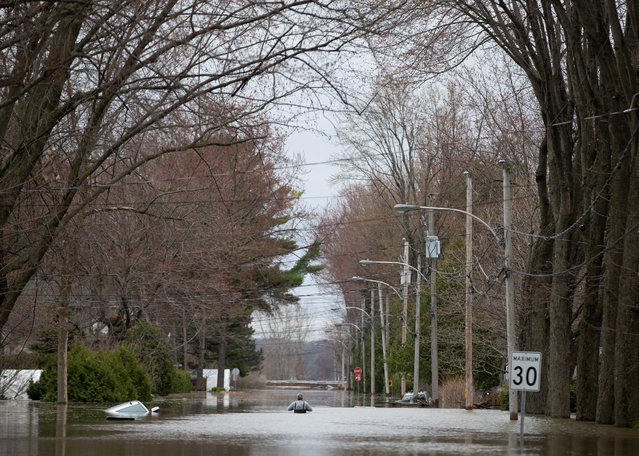 Resident Rene Lalumiere, walks down his flooded street after trying to reach his home but finding the water level too high, in Sainte-Marthe-sur-le-Lac, Quebec, Canada  April 28, 2019. (Photo by Christinne Muschi/Reuters)