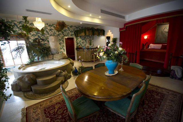 "The presidential suite of the ""The Walled Off Hotel"" in the West Bank city of Bethlehem, Friday, March 3, 2017. (Photo by Dusan Vranic/AP Photo)"