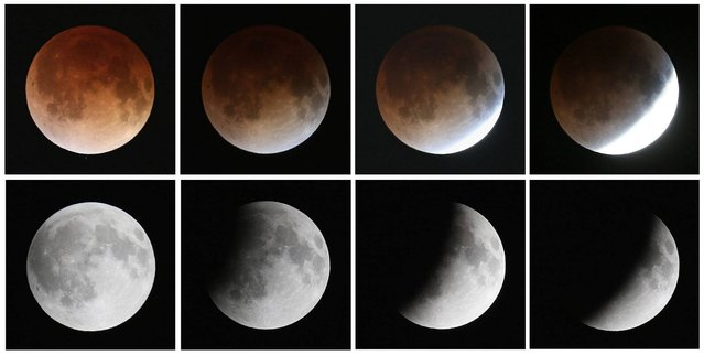 "This composite image shows a sequence, from bottom left to top left, of the moon's transition during a total lunar eclipse on April 15, 2014 in Miami, Florida. People in most of north and south America should be able to witness this year's first total lunar eclipse, which will cause a ""blood moon"" and is the first of four in a rare Tetrad of eclipses over the next two years. (Photo by Joe Raedle/Getty Images)"