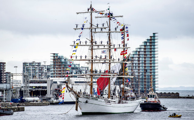 The Mexican school ship Cuauhtemoc takes part in the Tall Ships Races en route to the port of Aarhus, Denmark on August 1, 2019. (Photo by Henning Bagger/Ritzau Scanpix via Reuters)