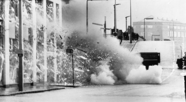 1971:  A car explodes after troops carried out a controlled explosion of a suspected bomb in Belfast