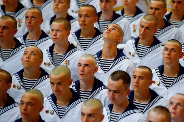 Russian Navy first-year cadets take oath of allegiance in Yakornaya Square, Kronshtadt, St Petersburg, Russia on August 10, 2019. (Photo by Olga Maltseva/TASS)