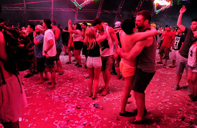 A general view of the atmosphere inside of the Sahara Tent. (Photo by Frazer Harrison/Getty Images for Coachella)