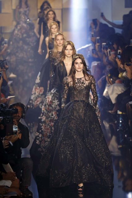 Models present creations by Lebanese designer Elie Saab as part of his Haute Couture Fall Winter 2015/2016 fashion show in Paris, France, July 8, 2015. (Photo by Charles Platiau/Reuters)