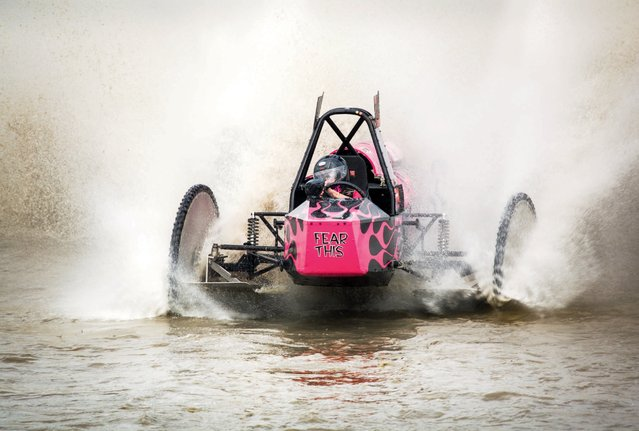 "Bonnie Walsh began her racing career in 1976 when the Mile O' Mud was located off of Radio Road and at that time they held an unofficial ""powder puff"" race for female drivers. In 2005, Bonnie became the first female swamp buggy driver to claim the Budweiser Championship Cup. (Photo by Malcolm Lightner)"