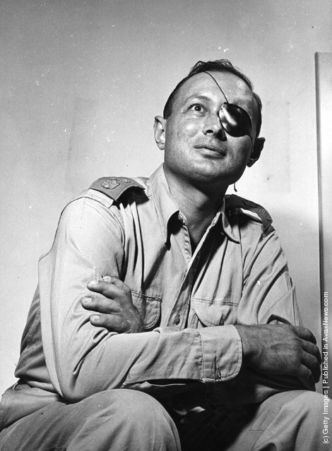 circa 1950:  Israeli soldier and statesman, Moshe Dayan (1915-1981), wearing his famous patch after having lost an eye in battle
