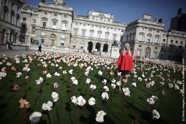'Out of Sync' art installation on a grass meadow at Somerset Housein London