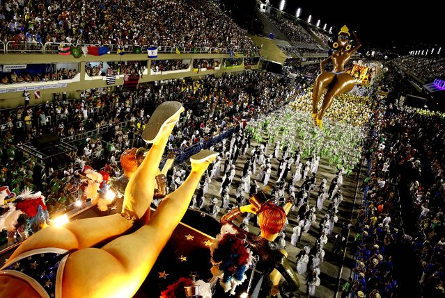 Dancers from the Sao Clemente samba school perform at the Sambadrome in Rio de Janeiro