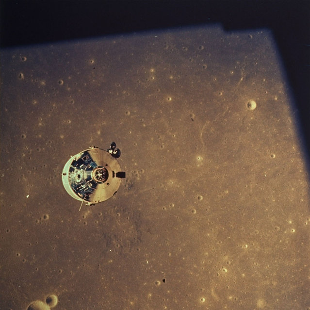 This July 20, 1969 file photo provided by NASA shows a view of the Apollo Command Module with astronaut Michael Collins aboard as seen from the Lunar Module. Astronauts Neil Armstrong and Edwin Aldrin in the Lunar Module separated from Apollo 11 to prepare to go to the lunar surface. (Photo by AP Photo/NASA)