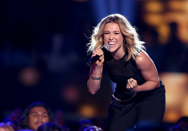 "Rachel Platten performs ""Fight Song"" at the Teen Choice Awards at the Galen Center on Sunday, August 16, 2015, in Los Angeles. (Photo by Matt Sayles/Invision/AP Photo)"