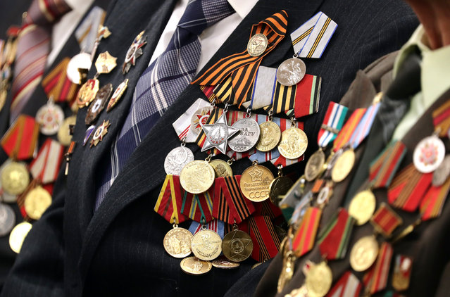 Orders and medals worn by a WWII veteran during a ceremony to award WWII veterans with the 75th Victory Anniversary medals, to mark the upcoming 75th anniversary of the victory over Nazi Germany in the 1941-45 Great Patriotic War, the Eastern Front of World War II, at the Siberian Memorial art gallery in Novosibirsk, Russia on February 14, 2020. (Photo by Kirill Kukhmar/TASS)