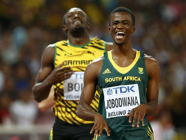 Anaso Jobodwana of South Africa celebrates after finishing second in the men's 200 metres semi-finals during the 15th IAAF World Championships at the National Stadium in Beijing, China August 26, 2015. (Photo by David Gray/Reuters)