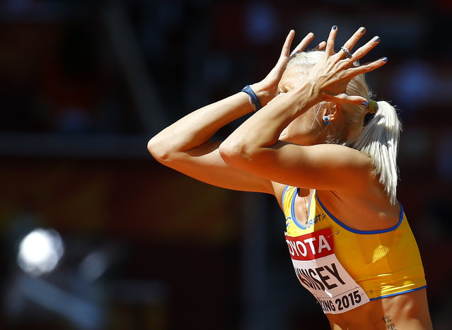 Erika Kinsey of Sweden reacts during the women's high jump qualification event at the 15th IAAF World Championships at the National Stadium in Beijing, China, August 27, 2015. (Photo by Kai Pfaffenbach/Reuters)