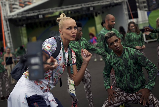 An athlete from Norway takes a selfie inside the Olympic village in Rio de Janeiro, Brazil August 2, 2016. (Photo by Edgard Garrido/Reuters)
