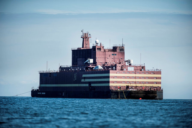"The Russian ""Academy Lomonosov"", the world's first floating nuclear power plant, passes Langeland island, while heading for Murmansk in northwestern Russia, in Denmark, May 4, 2018. (Photo by Tim Kildeborg Jensen/Reuters/Ritzau Scanpix)"