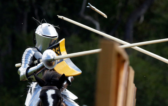 Australian jouster Luke Binks has a lance break off his body during the jousting tournament at the St Ives Medieval Fair in Sydney, one of the largest of its kind in Australia, September 24, 2016. (Photo by Jason Reed/Reuters)