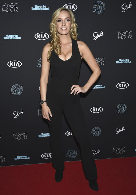 Paige Spiranac attends the Sports Illustrated Swimsuit Issue launch party at Magic Hour at Moxy NYC Times Square on Wednesday, February 14, 2018, in New York, USA. (Photo by Evan Agostini/Invision/AP Photo)