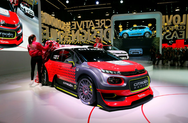A Citroen C3 WRC car is displayed on media day at the Mondial de l'Automobile, the Paris auto show, in Paris, France, September 29, 2016. (Photo by Jacky Naegelen/Reuters)