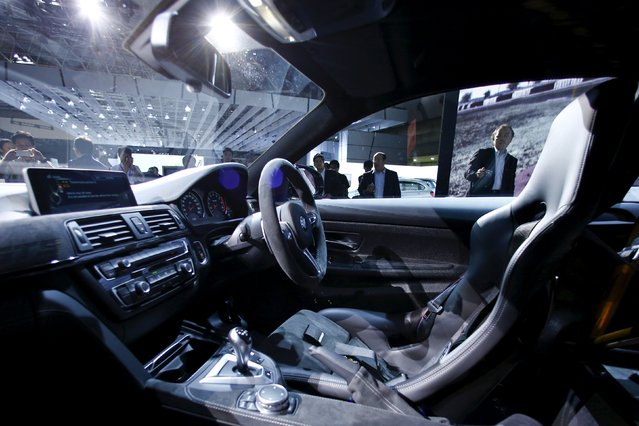 The interior of BMW Group's new M4 GTS sports car is seen at the 44th Tokyo Motor Show in Tokyo, Japan, October 28, 2015. (Photo by Thomas Peter/Reuters)