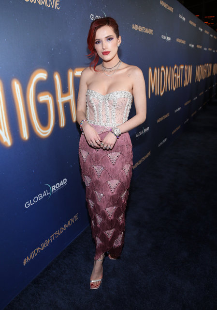"""Bella Thorne attends Global Road Entertainment's world premiere of """"Midnight Sun"""" at ArcLight Hollywood on March 15, 2018 in Hollywood, California. (Photo by Phillip Faraone/Getty Images)"""