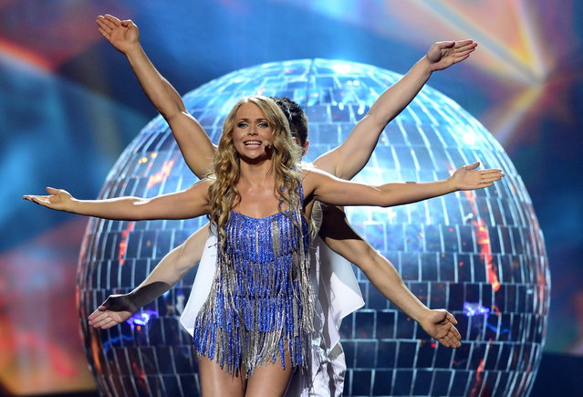 Belarus'  Alyona Lanskaya performs during the finals of the 2013 Eurovision Song Contest on May 18, 2013. (Photo by John MacDougall/AFP Photo)
