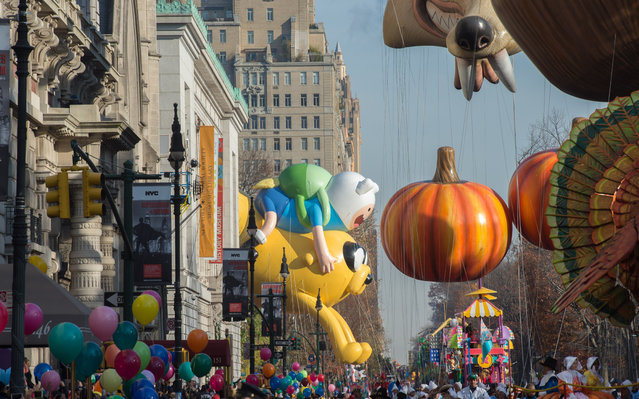 Balloons are moved onto Central Park West during the Macy's Thanksgiving Day Parade, Thursday, November 26, 2015, in New York. (Photo by Bryan R. Smith/AP Photo)